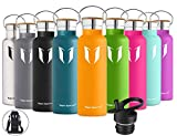 Super Sparrow Trinkflasche Edelstahl Wasserflasche - 500ml & 750ml & 1000ml - Isolier Flasche mit Perfekte Thermosflasche für Das Laufen, Fitness, Yoga, Im Freien und Camping   Frei von BPA